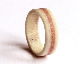 Women Antler Ring, Wedding Band With Crushed Coral Inlay,  Deer Antler Wedding Band
