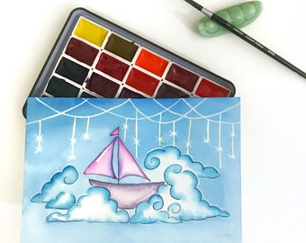 Sail amongst the Clouds - original watercolor painting