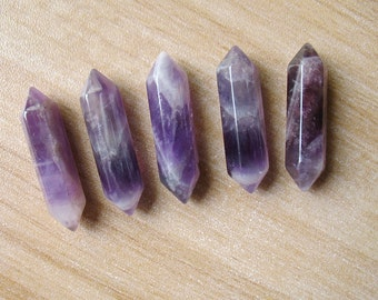 Sales promotion natural amethyst double terminated point purple crystal prism healing crystal stone high quality
