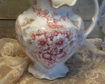 Vintage Pitcher - J & G Meakin - England - Dalmeny - 1900s Semi Porcelain Pitcher - Farmhouse Home Decor