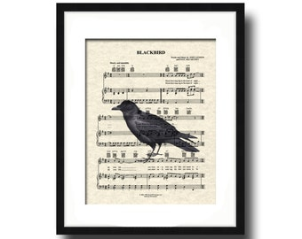 Blackbird Song Lyric Sheet Music Art Print