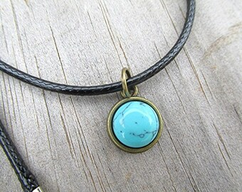 Turquoise choker turquoise necklace howlite turquoise cabochon gemstone necklace tribal choker minimalist pagan wicca vegan gift.