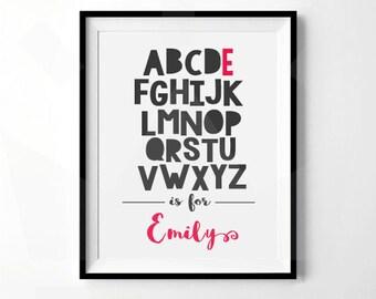 Personalized Alphabet Print   Girls Nursery Print, Girls room print   Personalized ABC Print   Digital Download