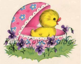 Easter 7 a Sweet Duck in an Easter Egg with Violets a Digital Image from Vintage Greeting Cards - Instant Download
