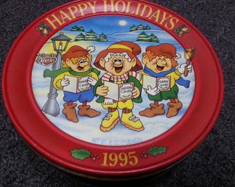 Keebler Elves Tin Happy Holidays 1995 Vintage collectible storage Christmas Graphics