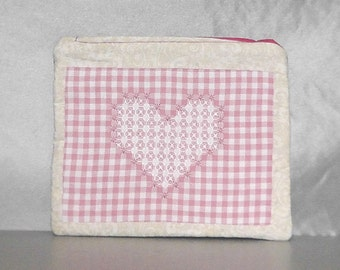 Vintage Needlework Zipper Pouch - Clutch Pink Patchwork Heart Repurposed Large Upcycled Bag Friend Gift Bag