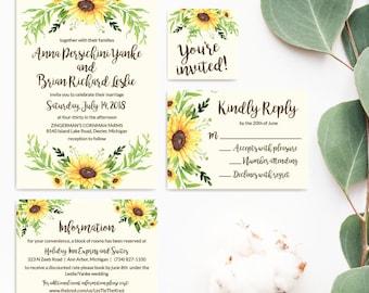 Printable Wedding Invite Template, Wedding Invitation Suites Packages, Formal Wedding Invitation Suite, Wedding Invitations Cheap Packages