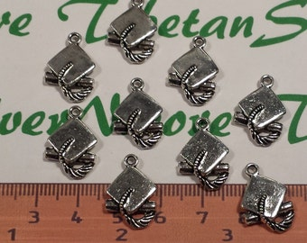 12 pcs per pack of 19x13mm Graduation Cap Charm Antique Silver Finish Lead Free Pewter