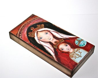 Virgen de Coromoto -  Giclee print mounted on Wood (3 x 6 inches) Folk Art  by FLOR LARIOS