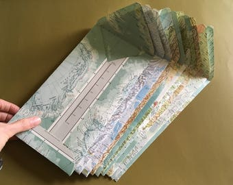 """10 large Side-Opening envelopes (9.5"""" x5"""") & paper made from vintage atlases and salvaged paper - with Options"""