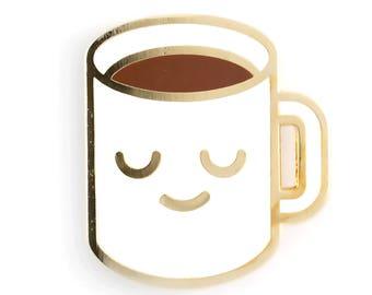 Broche émail une tasse de café