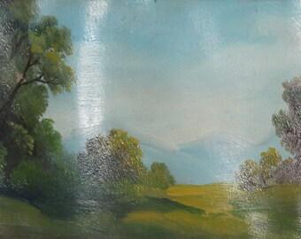 Antique oil forest landscape oil painting