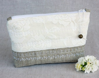 Ivory Lace Roses Wedding Bridesmaid Clutch, White Wedding Bridal Clutch, Wedding Bridesmaid Lace Handbag Clutch Wedding White Ivory Lace