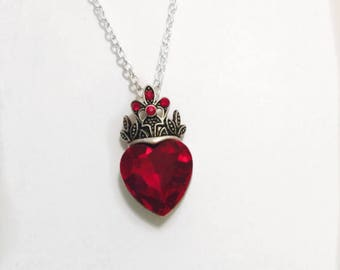 Red heart crystal necklace, red heart silver necklace, fairytale necklace, red heart necklace