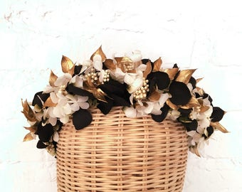Black, gold and white flower crown