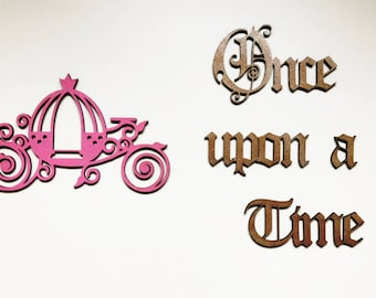 """Stickers """"Once upon a time"""" wood and carriage - once upon a time"""
