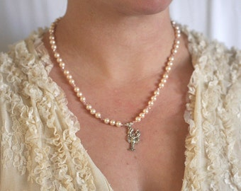 Softest Peach Freshwater Pearls and Sterling Silver Crawfish Necklace SRAJD