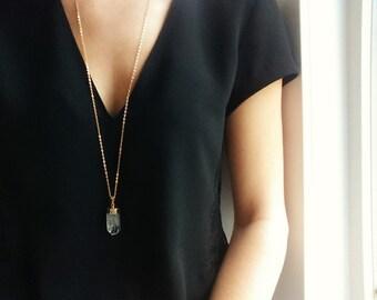 Gold Crystal Quartz Necklace   Modern Necklace Long Crystal Necklace, Long Necklace, Crystal Pendant Necklace, Boho Necklace Quartz Crystal