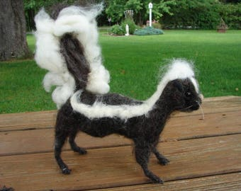 Needle Felted Skunk, Felted Skunk, Wool  Skunk, Needle Felted Wool Skunk, Skunk, Soft Sculpture, Felted Animal, Animal