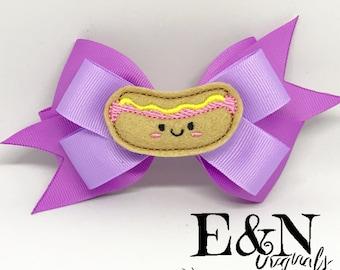 Hotdog hair bow - hotdog bow - hotdog accessories - hotdog gifts - hotdog - hotdog hair accessories - hotdog hair clip