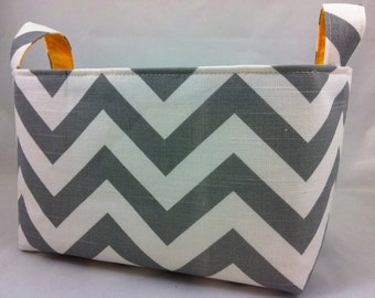 Fabric Organizer Storage Bin Container Basket  ZigZag Ash Gray/White with corn yellow lining or choose your color lining 10 x 5.5 x 6