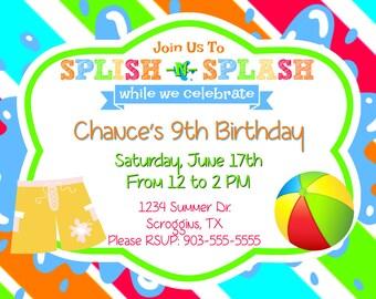 Splish N Splash - Boys Party Invitation (Digital File)