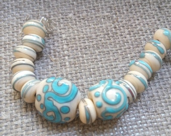 Handmade Glass Lampwork Beads - ivory blue beads
