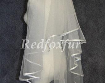 1 Tier Bridal Veil Satin edge Wedding dress veil White / Ivory Veil No comb