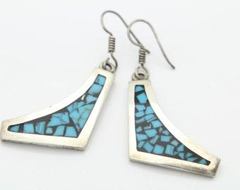 Vintage Sterling Silver Taxco Dangle Earrings w Turquoise Mosaic Black Enamel. [2078]