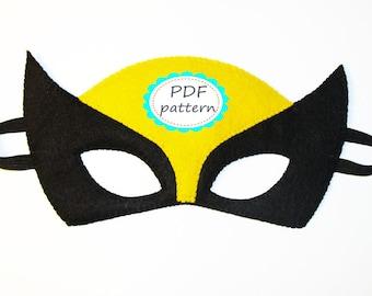 PDF PATTERN Wolverine felt mask Superhero sewing tutorial instruction Black Yellow DIY Halloween costume for boy girl adult Dress up play