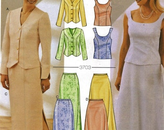 Butterick 3703    Misses/Petites Special Occasion Jacket Top and Skirt , Mother of the bride/Groom        Size 8,10,12        UNCUT