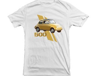Fiat 500 Classic Car T-shirt for Fiat Fans, Owner - gift for Boyfriend, Husband, Dad