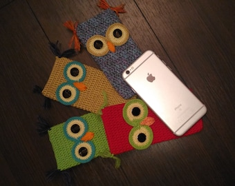 Crochet  Owl Phone cozy,Crocheted I phone 6 plus,Cotton iPhone Pouch,gift for birthday, crochet phone case, iPhone Gadget Case