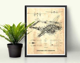 """P38 Lightning blueprint, Vintage blueprint, Instant Download, Aircraft Blueprint, Blueprint Art, P38 Lightning, 8x10"""", 11x14"""", 16x20"""""""