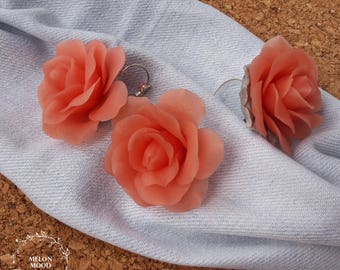 Peach roses polymer clay set, Ring & Earrings set, Flowers jewelry set, Polymer clay jewelry, Handmade jewelry, Gift idea