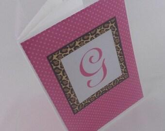 Monogram Photo Album Wedding Personalized Bridal shower gift Monogrammed 4x6 or 5x7 picture Album Hot Pink Leopard 388