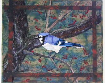 The Blue Jay - Art Quilt - Quilt - Bird - Tree - Bark - Blue - Green - Wallhanging - Art - Handmade - Original - Textile - Applique