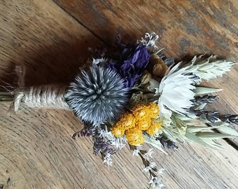 Beautiful Bespoke Wedding Buttonholes. Made from dried flowers and grasses for a rustic, vintage or country feel. Thistle, daisy