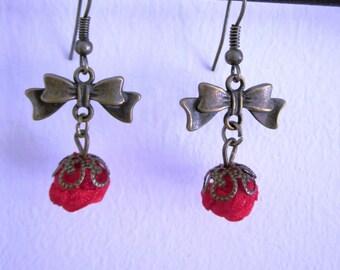 Pink button earrings