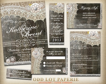 Rustic Lace Wedding Invitation package, Rustic Wedding, Country Wedding,  Digital Invitation, Country Rustic Stationery, DIY printable