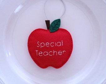 Teacher Apple Personalized Felt Christmas Handmade Ornament