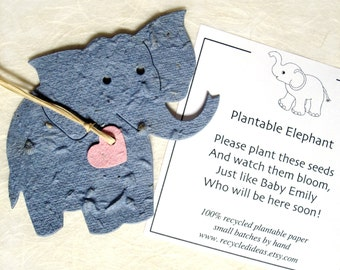 Elephant Baby Shower Favors - Plantable Seed Paper Elephants - Kids Birthday Party Favors - with Flower Seeds