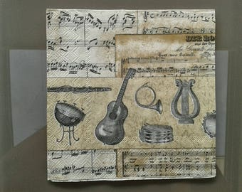 set of 2 napkins papierlot 2 musical instruments paper napkins