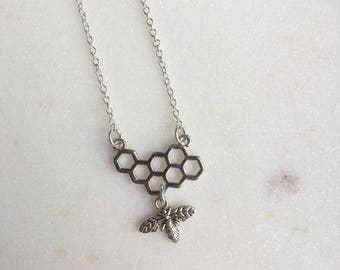 Bee and Honeycomb Necklace, Bumble Bee Necklace, Honeycomb Necklace, Honey Bee Necklace