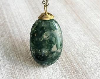 moss agate, moss agate necklace, moss agate jewelry, moss agate pendant, moss agate,  Gift for her,  healing crystals