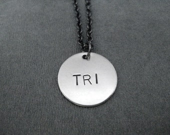 TRI Round Pendant Necklace - Round Triathlon Necklace on Gunmetal chain - Triathlon Jewelry -  Tri - Triathlete Necklace - Swim Bike Run