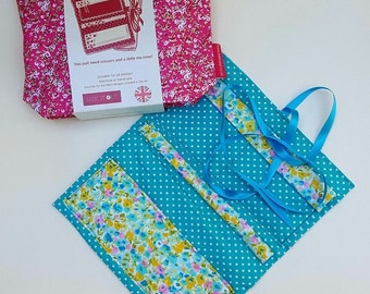 Beginners Sewing Kit ~ Liberty inspired Print, Quilted Jewellery Roll (Bright)