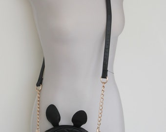 Black Crossbody Bag, Quilted Purse, Purse with Ears,