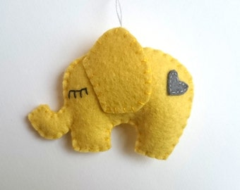 Felt Elephant ornament  - yellow home decoration Christmas Housewarming Baby shower ornaments nursery decor kid's room ideas