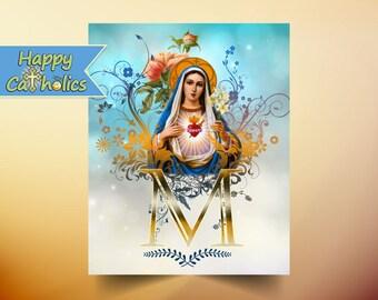 Catholic Art // Virgin Mary Art // Immaculate Heart of Mary